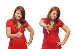 Gesto da mulher nova e do polegar Foto de Stock