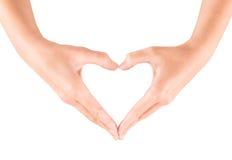 Gesto de la dimensión de una variable del corazón Fotografía de archivo libre de regalías