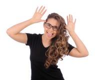 Gesto de la muchacha del adolescente y tomadura de pelo hermosos de la actividad Imágenes de archivo libres de regalías
