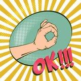 Gesto de mão APROVADO, significando o acordo Ilustrações retros de imitação Imagem do vintage com reticulações Humor positivo ilustração stock