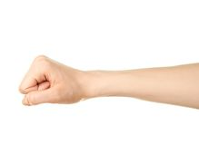 Gesto de mão caucasiano fêmea isolado Imagem de Stock Royalty Free