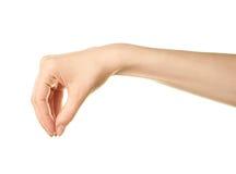 Gesto de mão caucasiano fêmea isolado Imagens de Stock