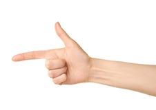 Gesto de mão caucasiano fêmea isolado Fotografia de Stock Royalty Free