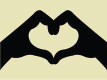 Gesto de mão da forma do coração Foto de Stock