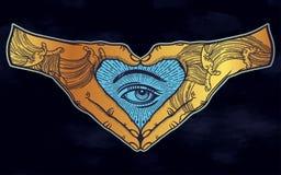 Gesto de mão da forma do coração com um olho místico para dentro ilustração stock