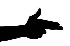 Gesto de mano caucásico masculino en el fondo blanco Imagenes de archivo