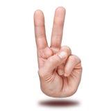 Gesto de mano de la victoria y de la paz fotos de archivo