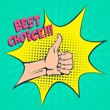Gesto de mano en estilo del arte pop Pulgar para arriba El texto cómico Humor positivo stock de ilustración