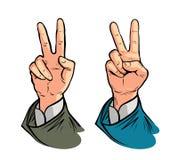 Gesto de mano de la victoria o de la paz Vector el ejemplo en estilo cómico retro del arte pop Foto de archivo