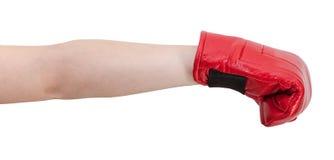 Gesto de mano - niño con los sacadores del guante de boxeo Foto de archivo libre de regalías