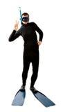 Gesto dell'interno di vittoria dell'operatore subacqueo fotografia stock libera da diritti