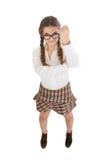 Gesto dell'ombrello della ragazza del nerd immagini stock