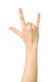Gesto della roccia di rappresentazione della mano del ` s della donna Immagini Stock Libere da Diritti