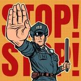 Gesto di arresto dell'ufficiale di polizia fotografia stock libera da diritti