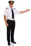 Gesto di benvenuto del pilota di linea aerea Immagine Stock