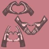 Gesto di mani, mano nella forma del cuore, Immagine Stock