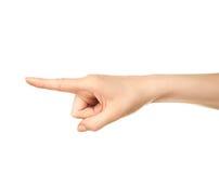 Gesto di mano caucasico femminile isolato Immagini Stock