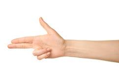 Gesto di mano caucasico femminile isolato Fotografia Stock