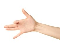 Gesto di mano caucasico femminile isolato Fotografie Stock