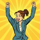 Gesto di mano di conquista della donna allegra su Immagine Stock Libera da Diritti