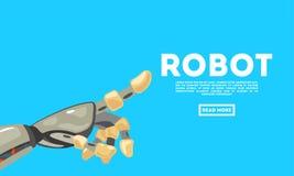 Gesto di mano del robot bot Macchina meccanica di tecnologia che costruisce simbolo Concetto di progetto futuristico illustrazione vettoriale