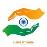 Gesto di mano della bandiera dell'India Fotografie Stock Libere da Diritti