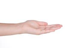 Gesto di mano della femmina isolato Fotografia Stock