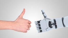 Gesto di rappresentazione delle mani dell'uomo e del robot, isolato su bianco immagini stock