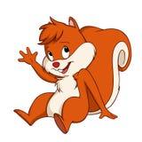 Gesto di seduta di benvenuto del cucciolo dello scoiattolo del fumetto Immagini Stock Libere da Diritti