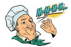 Gesto do cozinheiro de sensações deliciosas Fotografia de Stock Royalty Free