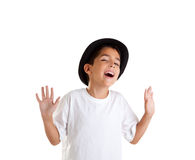 Gesto do menino com o chapéu negro isolado no branco Imagem de Stock Royalty Free