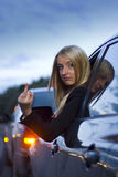 Gesto enojado del programa piloto femenino Imagenes de archivo