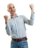 Gesto felice del vincitore dell'uomo Immagine Stock Libera da Diritti
