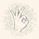 Gesto GIUSTO di vettore Schizzo disegnato a mano del segno di Allright illustrazione di stock