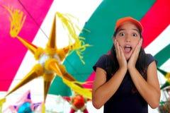 Gesto hispánico adolescente latino de la sorpresa de la muchacha Fotos de archivo