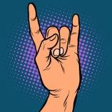 Gesto para hombre de la roca de la mano ilustración del vector