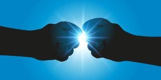 Gesto que simboliza o compromisso entre dois sócios ou a confrontação entre dois adversários ilustração stock