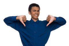 Gesto teenager afroamericano insoddisfatto di manifestazioni fotografie stock libere da diritti
