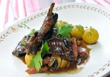 Gestoofd konijn met aardappels Royalty-vrije Stock Foto