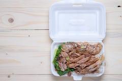 Gestoofd varkensvleesbeen met rijst Stock Foto's