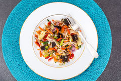 Gestoofde groenten met paddestoelen mun, sojaboonspruiten en bamboe Royalty-vrije Stock Fotografie