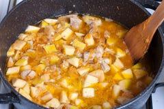 Gestoofde groenten met vlees in een pan Stock Foto