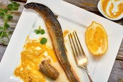Gestoofde lamprei op plaat Royalty-vrije Stock Fotografie