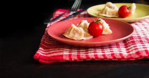 Gestoomde Chinese jiaozi met tomaat Stock Afbeeldingen