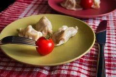 Gestoomde Chinese jiaozi met tomaat Royalty-vrije Stock Afbeelding