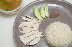 Gestoomde kip met rijst Stock Fotografie