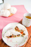 Gestoomde varkensvleesbroodjes, Chinees dim sum Stock Foto's