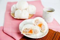 Gestoomde varkensvleesbroodjes, Chinees dim sum Royalty-vrije Stock Foto's