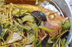 Gestoomde vissen met de plakgember van het sojasausbovenste laagje en paddestoel in pot Royalty-vrije Stock Foto