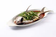 Gestoomde vissen met sojasaus Stock Afbeelding